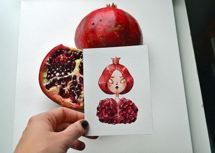 Характеры фруктов в рисунках Marija Tiurina
