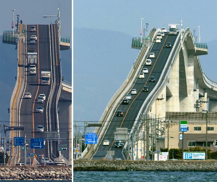 Мост в Японии, напоминающий американскую горку