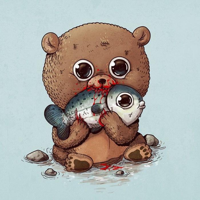 Умилительные хищники и их забавные жертвы в иллюстрациях Alex Solis