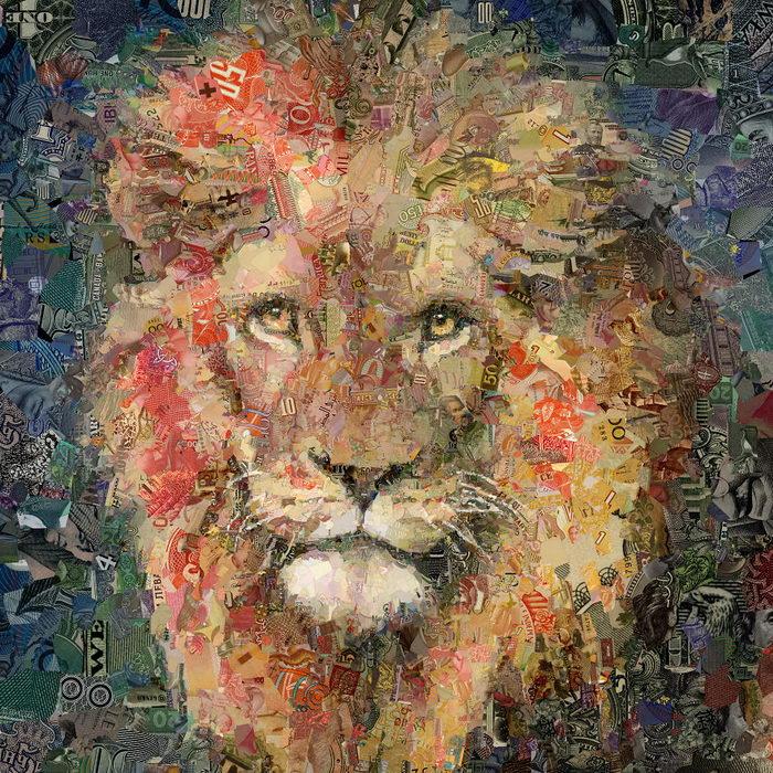 Портреты зверей из банкнот Charis Tsevis