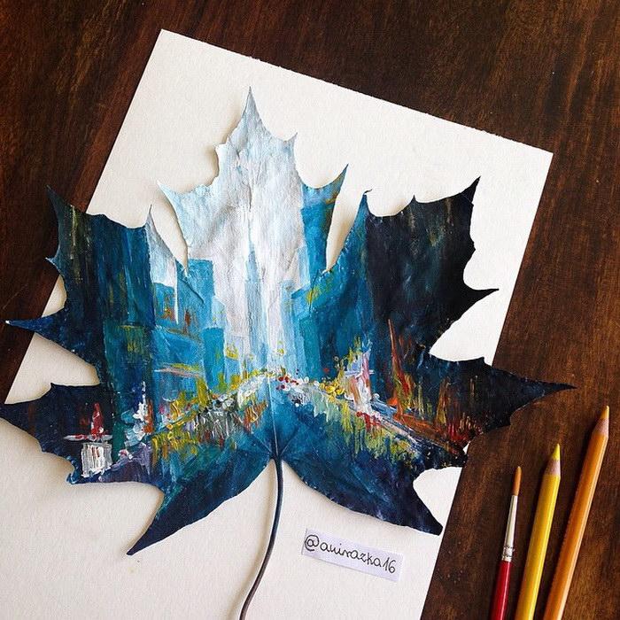 Рисунки на листьях с деревьев Joanna Wirażka