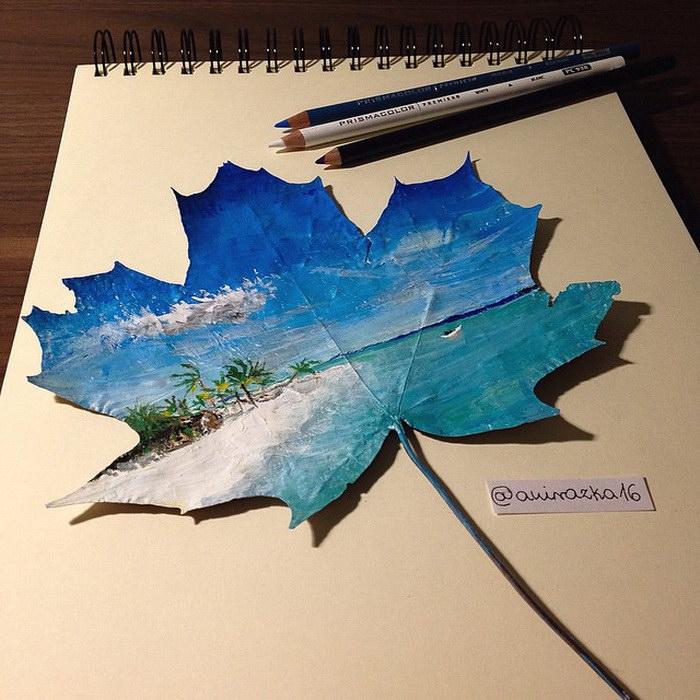 Рисунки на листьях с деревьев Joanna Wira?ka