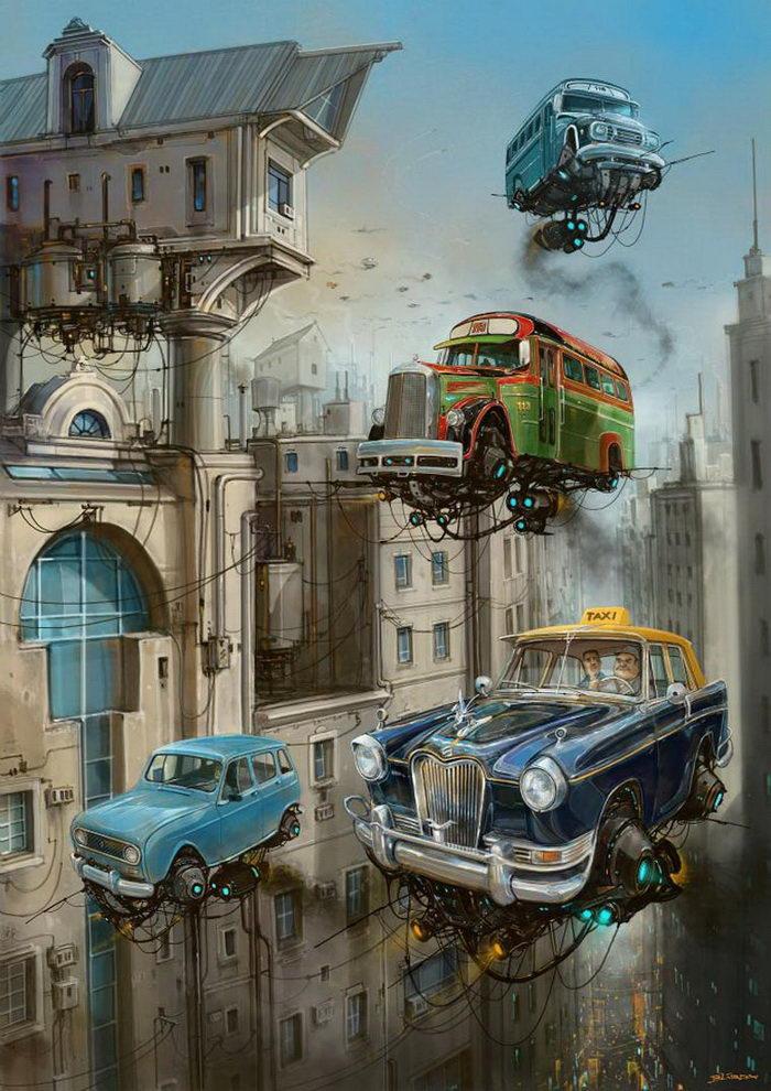 Летающие машины в иллюстрациях Alejandro Burdisio