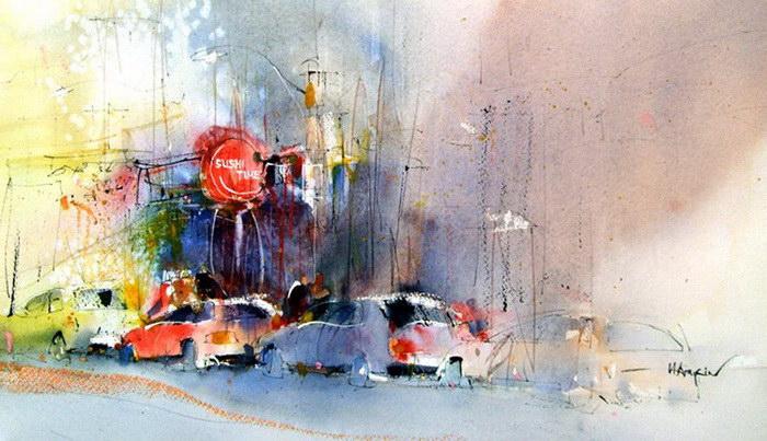 Трамваи в акварельных картинах Herry Arifin