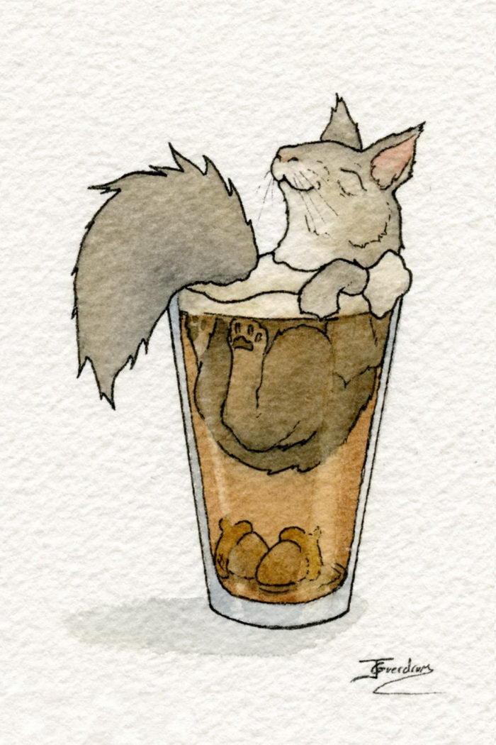 Звери в бокалах: милые иллюстрации Jon Guerdrum