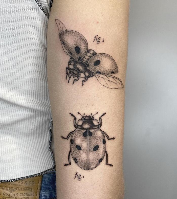 Пуантилизм в татуировках Michele Volpi