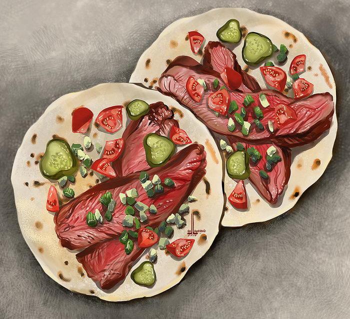 Иллюстрации вкусной еды Lua Lazarovic