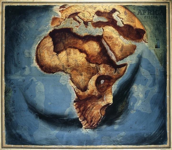Тела людей и животных на карте мира: проект Fernando Vincente