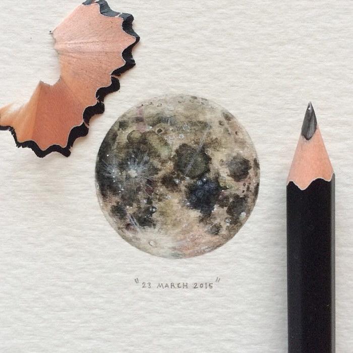 Миниатюрные рисунки космоса Lorraine Loots