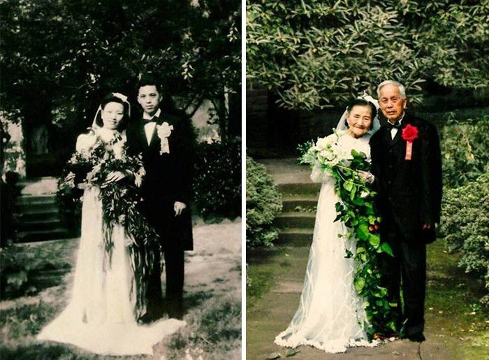 Свадебная фотосессия спустя 70 лет после заключения брака