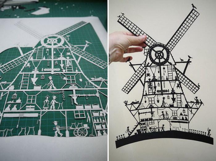 Невероятные фигуры, вырезанные из единого листа бумаги