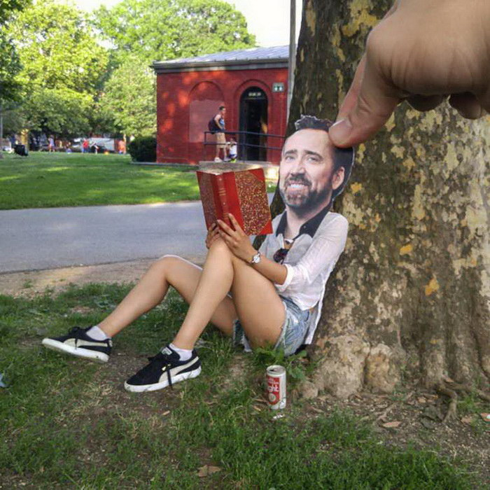 Лица знаменитостей, прилепленные на обычные фотографии: проект Joel Strong