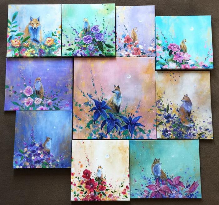 Лисы на красочных картинах Jennifer Taylor