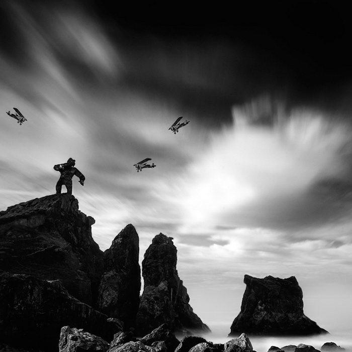 Герои классических фильмов в спокойных пейзажах Nathan Wirth