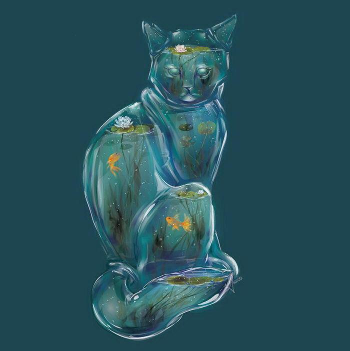 Животные в виде стеклянных террариумов с цветами