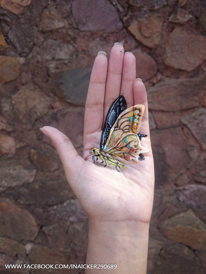 Объемные рисунки на руках Iantha Naicker