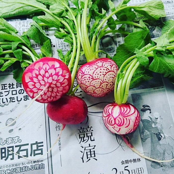 Резьба по овощам японского мастера Gaku