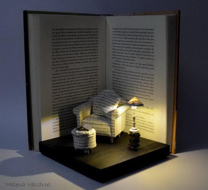 Книжные скульптуры Malena Valcarcel