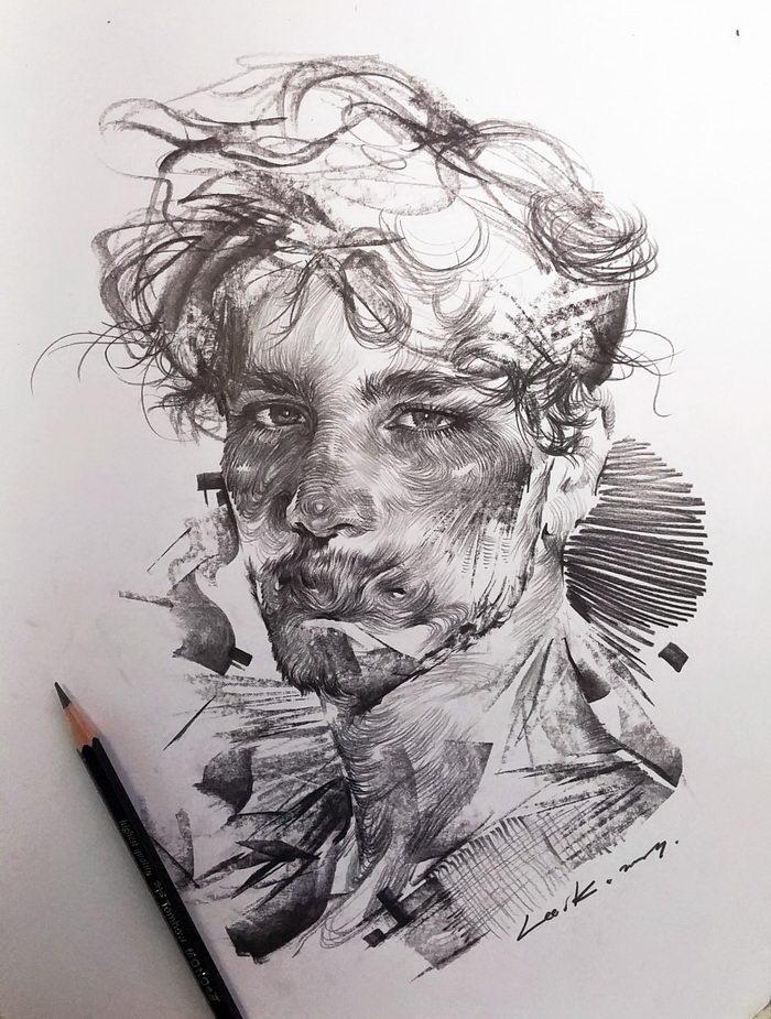 Карандашные портреты людей Lee.K