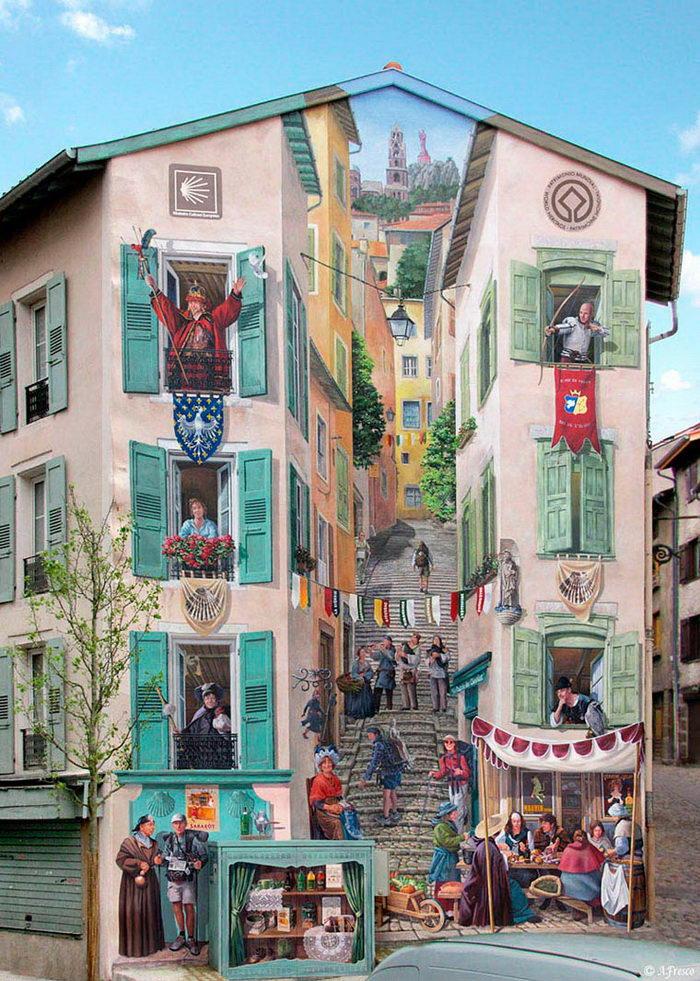 Перекрывающие здания графитти Patrick Commecy