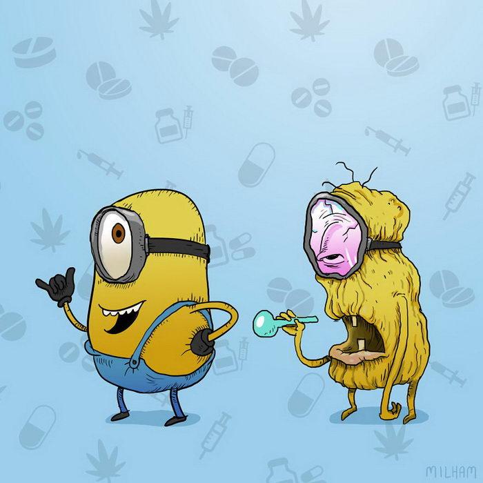 Персонажи мультфильмов после наркоты: работы Sam Milham