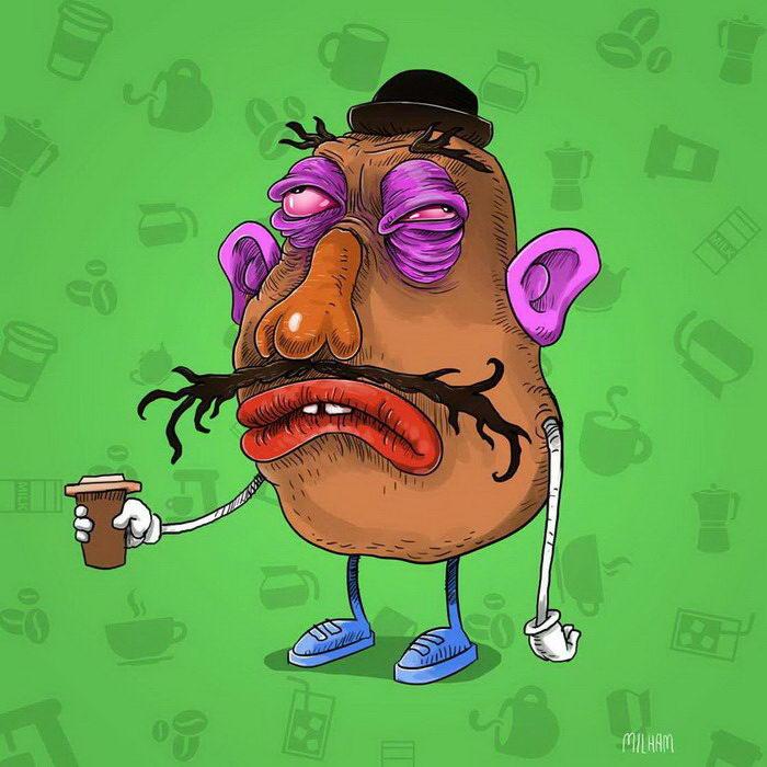 Кофейные наркоманы: забавные иллюстрации Samuel Milham