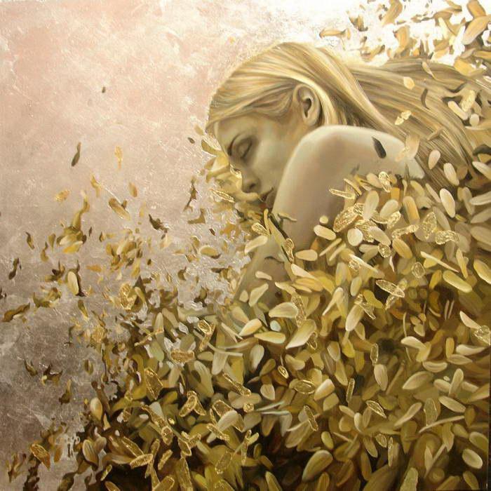 Картина на сусальном золоте стихия Воздух