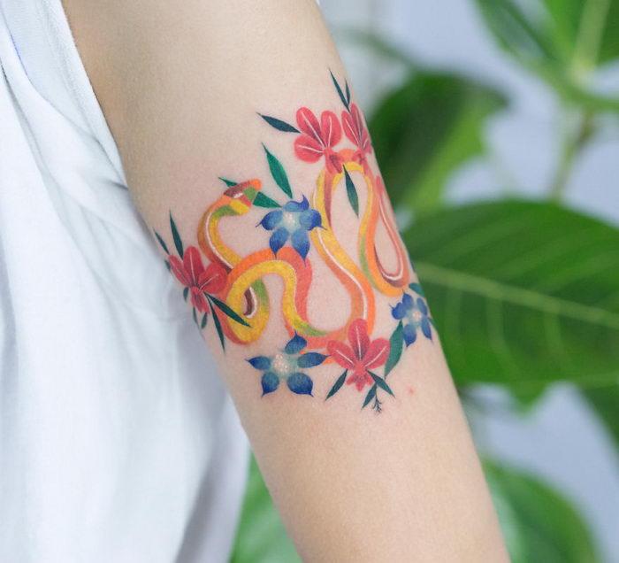 Змеиные татуировки корейского мастера Zihee