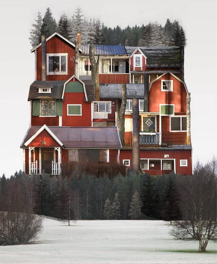 Коллажи из домов в работах Анастасии Савиновой