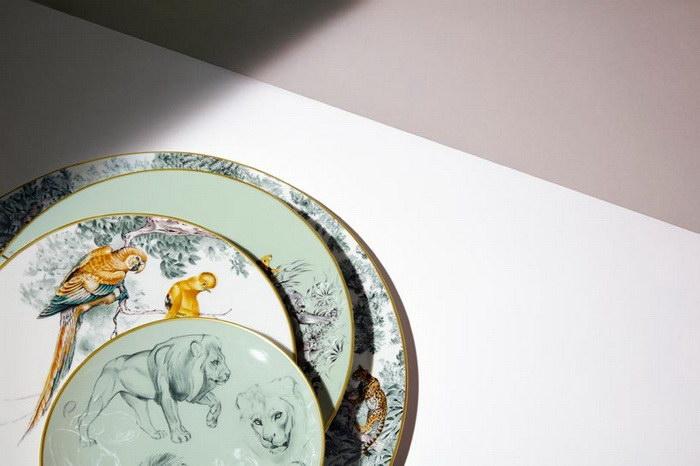 Коллекция посуды Hermes с рисунками Robert Dallet