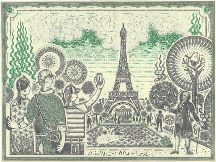 Коллажи из долларовых купюр Mark Wagner