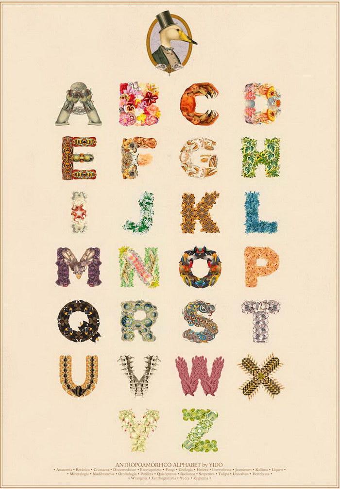 Биологический алфавит дизайнера Yes I do concept