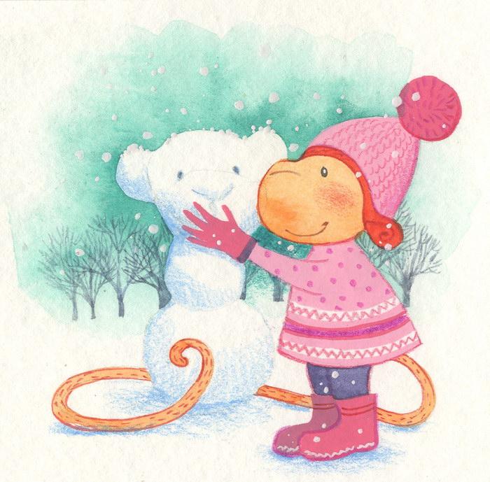Милые обезьянки в рисунках Кати Гончаровой