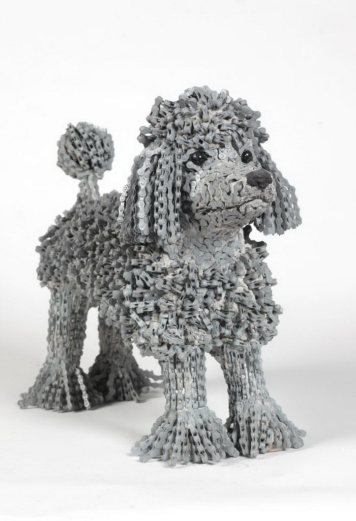 Скульптуры собак из старых велосипедных цепей Nirit Levav