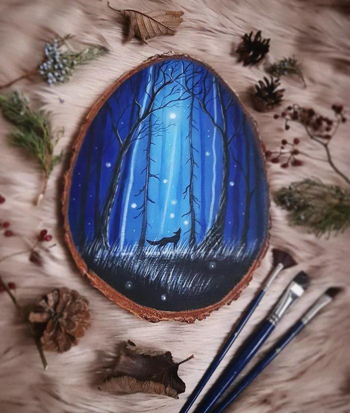 Рисунки на деревянных спилах Forest Design