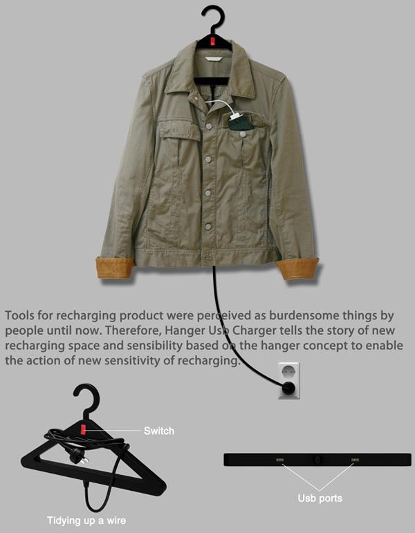 Вешалка для одежды с USB разъемами
