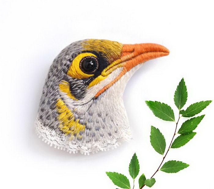 Птичьи брошки: работы Paulina Bartnik
