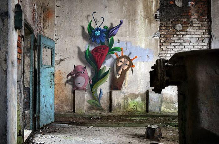 Граффити монстров в заброшенных зданиях Берлина
