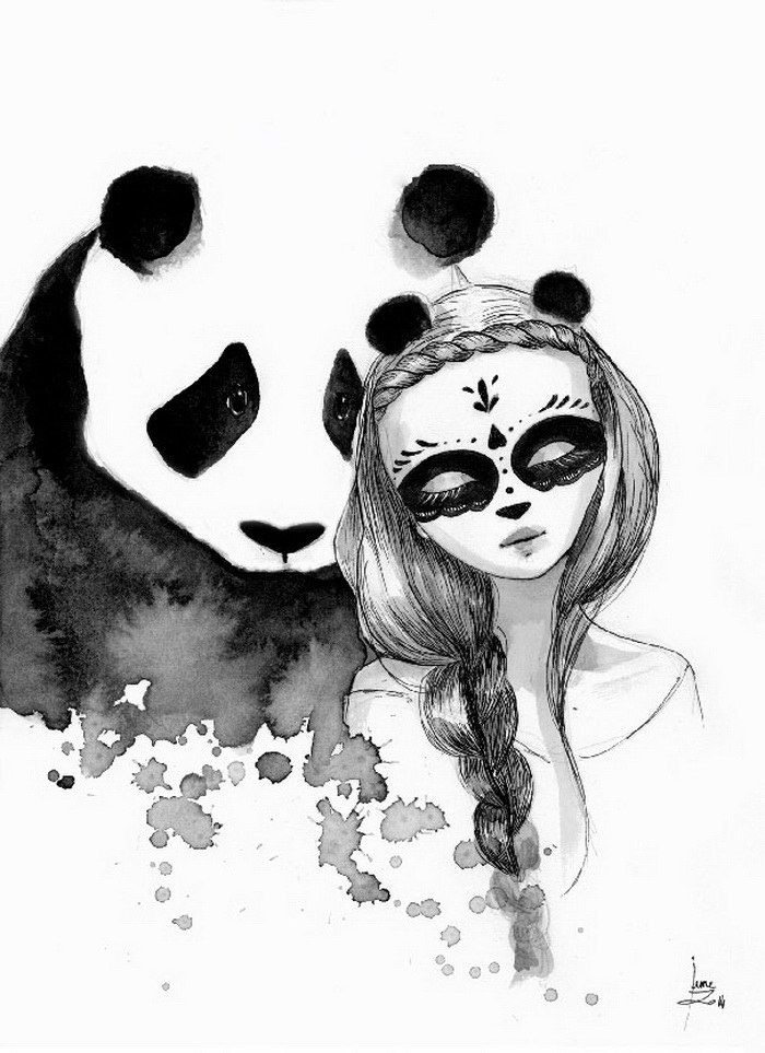 Панды в иллюстрациях June Leeloo