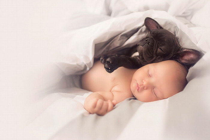 Ребенок и бульдог: искренняя дружба двух малышей