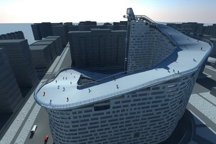 Проект дома с горнолыжной трассой на крыше