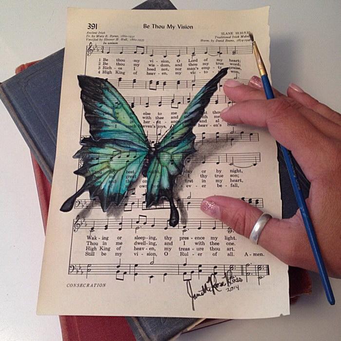 Рисунки на нотах и листочках Janette Rose
