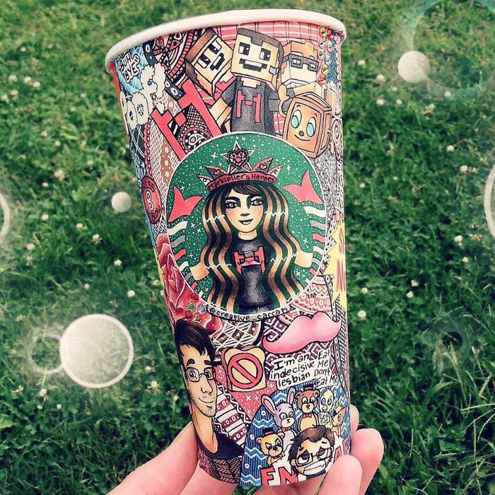 Расписные стаканы из Starbucks: работы Carrah Aldridge