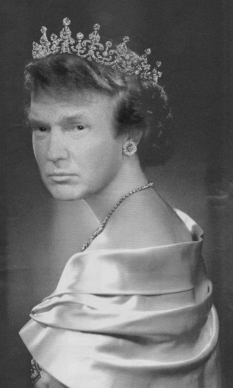 Королева Елизавета с лицом Дональда Трампа