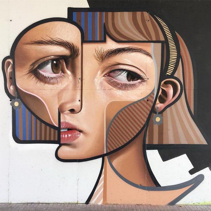 Стрит-арт художник Belin и его работы в стилях кубизм и реализм
