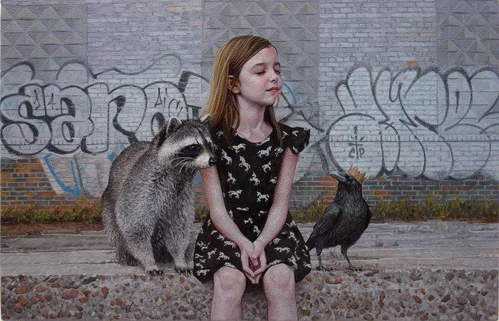 Дети и дикие животные: картины Kevin Peterson