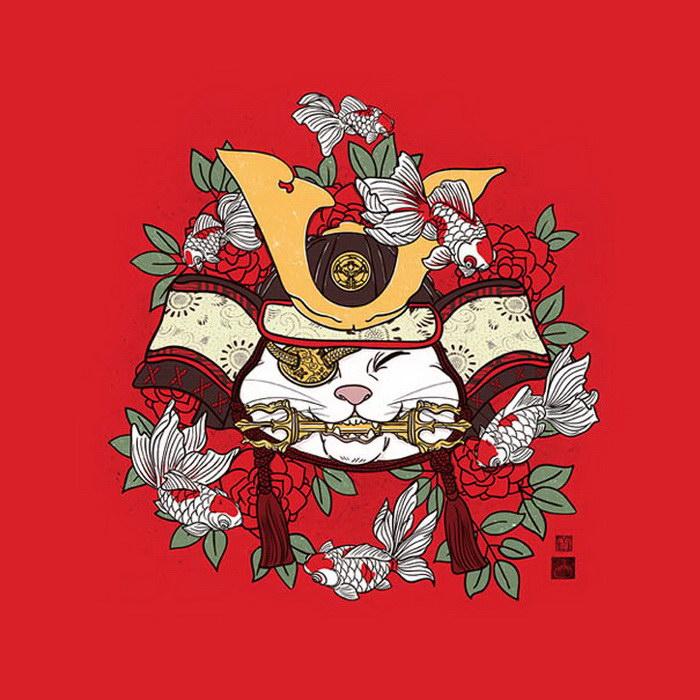 Коты-самураи в иллюстрациях William Chua