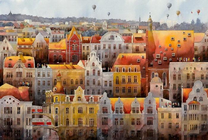 Варшава XIX века в ностальгических иллюстрациях Tytus Brzozowski