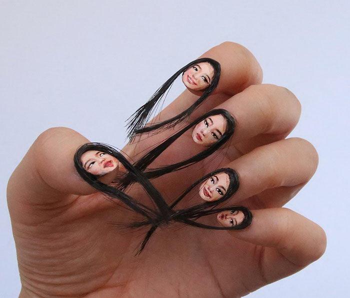 Волосатые ногти с портретом: тренд 2017 года