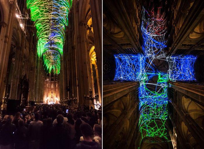 Световые инсталляции в соборе Сент-Эсташ в Париже
